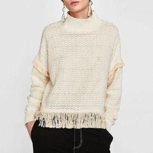 ZARA Boho Fringe Mock Neck Tweed Sweater in Cream